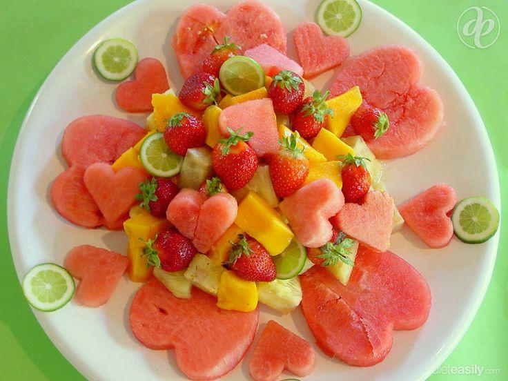 Summer Fruit Platter #dessert #breakfast #watermelon #heart