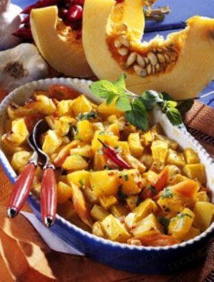 Kürbis-Kartoffel-Möhren-Auflauf mit Honig Rezept