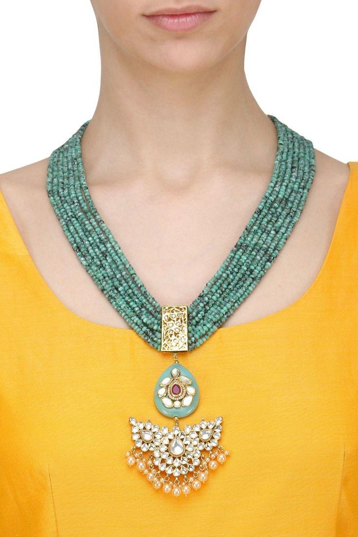 ANJALI JAIN Gold Finish Kundan Stone Blue Beads Necklace Set. Shop Now!  #anjalijain #ethnic #gold #kundan   #necklace #indianjewellery #indianfashion #indiandesigners #perniaspopupshop #happyshopping #EthnicGoldJewellery