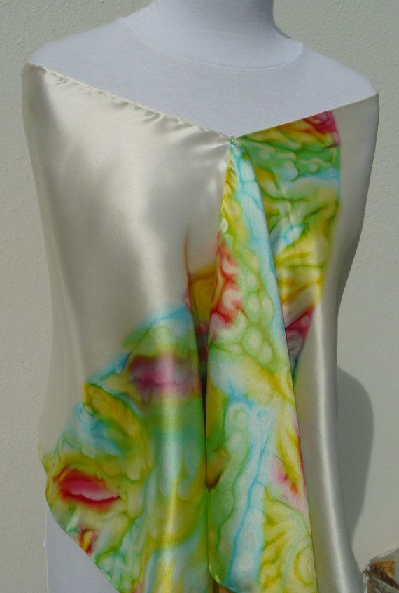 Hand Painted Satin silk scarf lime green aqua blue pink yellow white by Irisit