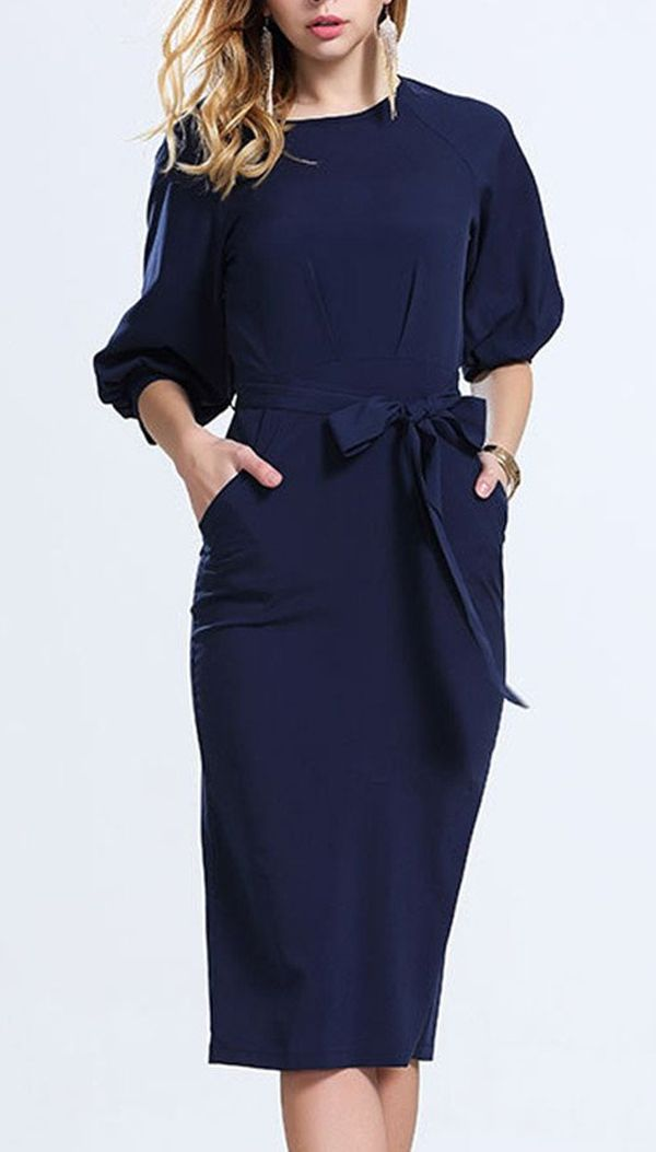 Fashionable Sleeve Slim Dress! Slim version of type, belt design! More significant figure! Any occasion suitable for such a skirt!Search more fashion clothing at bellolla.com