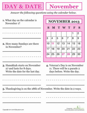 What date is Thanksgiving in November 2013? Use this day and date worksheet to help your child practice reading a calendar and working with a monthly schedule!