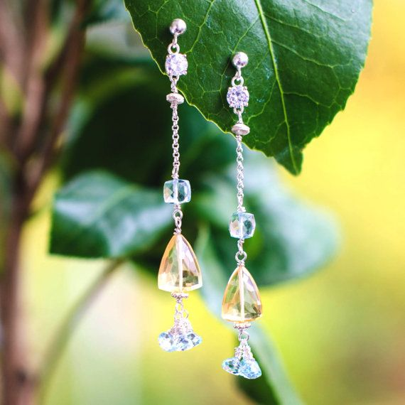 Long Silver Dangle Earrings with Aquamarines by Jeva Jewels on #Etsy #JevaJewels #handmadejewelry #statementnecklace #swissmade