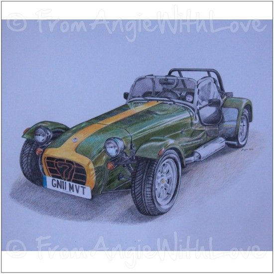 Do portraits of sports cars look better in coloured pencil or graphite? Following my earlier Caterham 7 pencil sketch commission, I decided to find out by drawing the same car in colour, and from a slightly different angle. I think it turned out well, and the owner was delighted too.