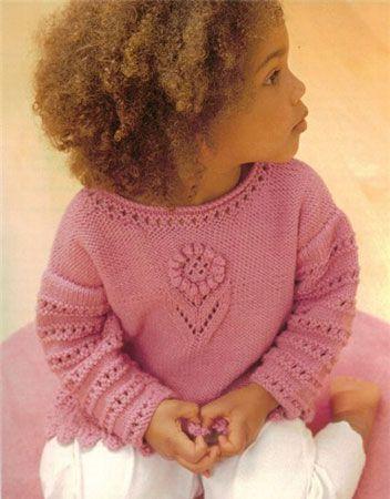 """ажурный свитер для девочки """"нежный цветочек"""""""