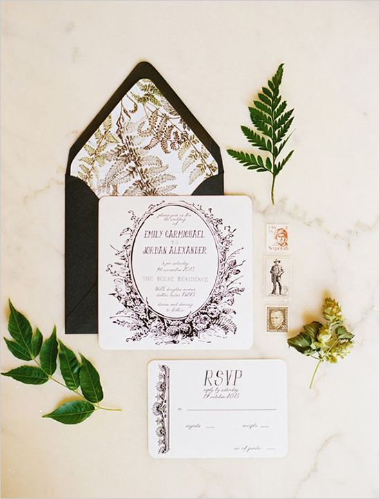 Black and white wedding ideas. Stationery By: Sweet Magnolia Paper #weddingchicks http://www.weddingchicks.com/2014/06/26/black-and-white-wedding-ideas/