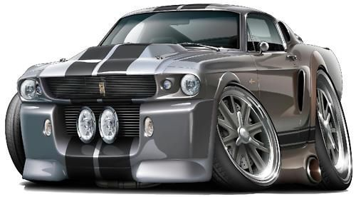 1967 Ford Mustang Gt Fastback 427 Cartoon Car Wall Graphic