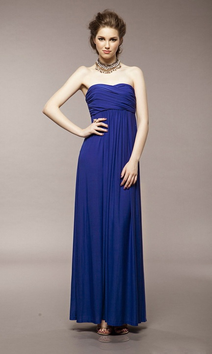 Greece Strapless Sleeveless Chest With Ruched Long Dress