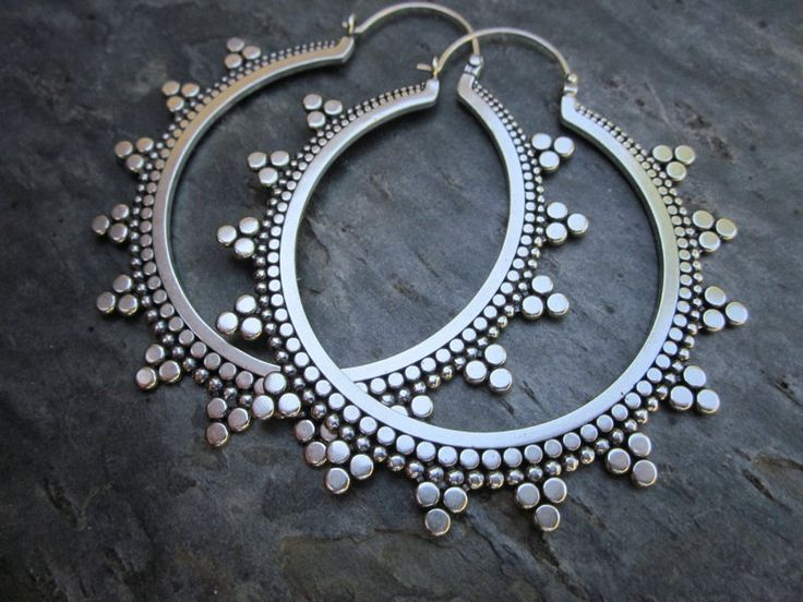 Earrings | Sasha Bell. 'Tribal Hoops'. Sterling silver.