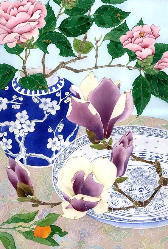 Camelias and magnolias: watercolour digital print on photographic poster paper