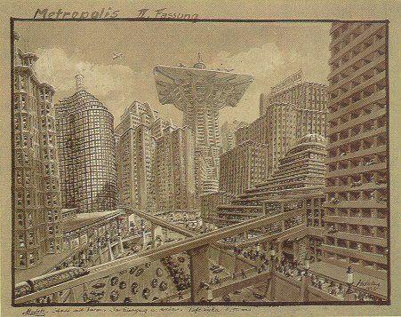 Metropolis 1927 - Film Archive - Erich Kettelhut Drawings 1925-6. 4. Cityscape for Metropolis, Version 2, gouache on grey paper, 30 x 39 cm.