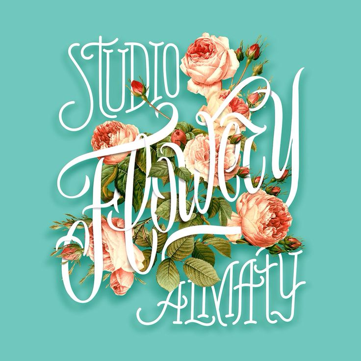 "Logo artwork for ""Flowery"" floral studio"