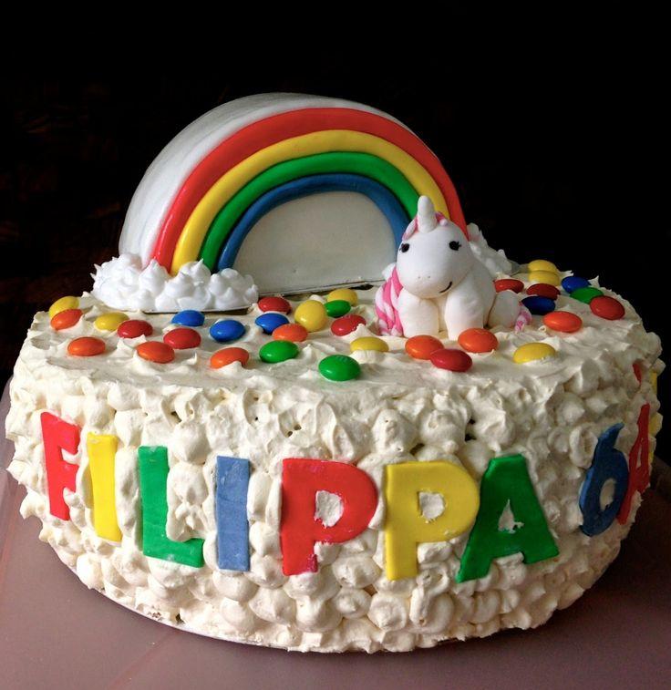 Rainbow/unicorn birthday cake