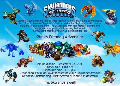 SKYLANDERS Custom Digital File Birthday Party Invitation Printable