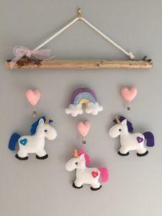 Unicorn Felt Mobile - babys mobile - childrens mobile - multicoloured mobile…
