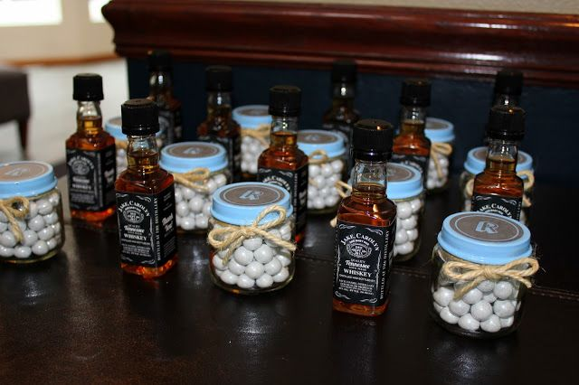 Couples Baby Shower-his and hers party favors! Whisky for the men and chocolates for the ladies, with customized labels. Perfect!