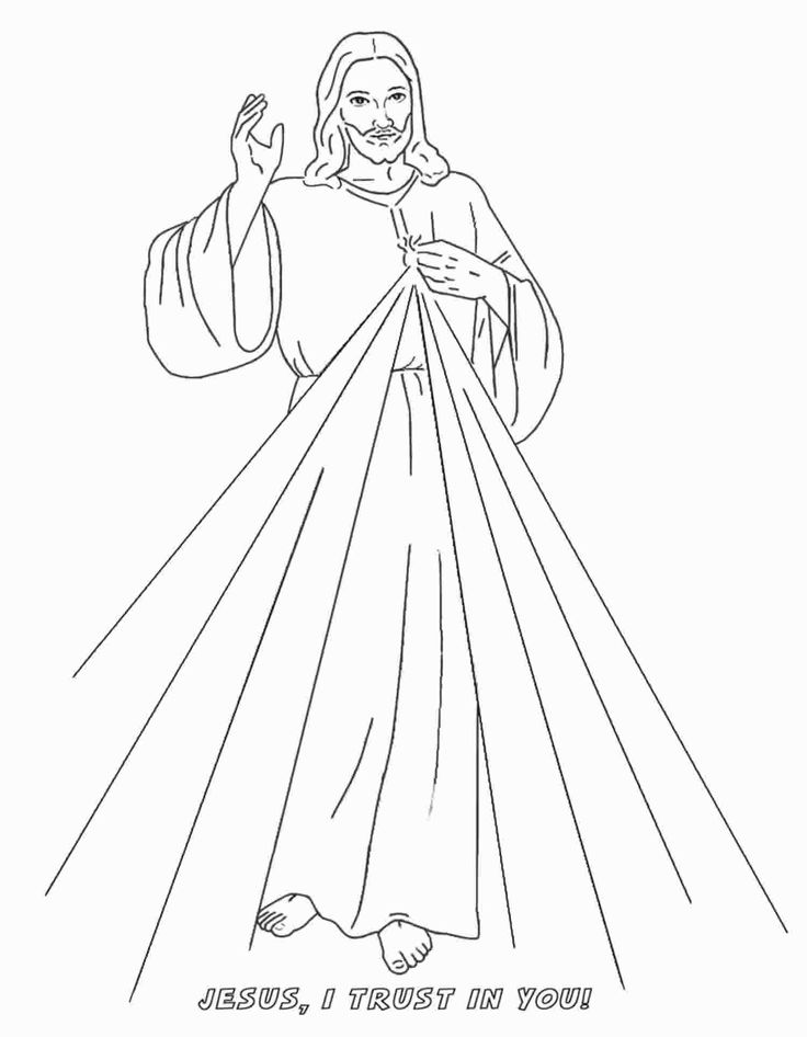 Divine Mercy Coloring Page Print Out The Image Of For Kids To Color