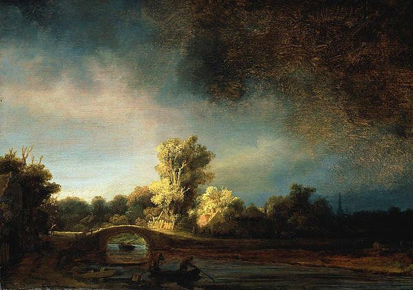Rembrandt's Top 10 Paintings | Rembrandt Landscape Paintings - The Stone Bridge Poster By Rembrandt