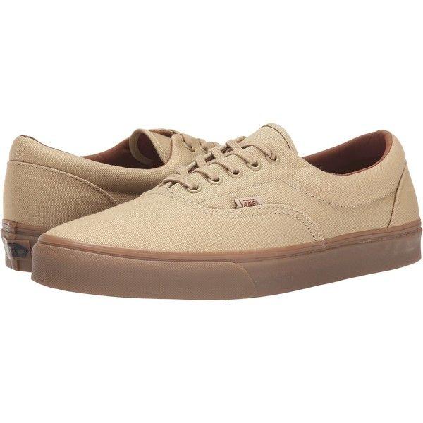 Vans Era Black) Skate Shoes, Khaki ($31) ❤ liked on Polyvore featuring shoes, sneakers, khaki, vans sneakers, white sneakers, blue skate shoes, lace up shoes and blue sneakers