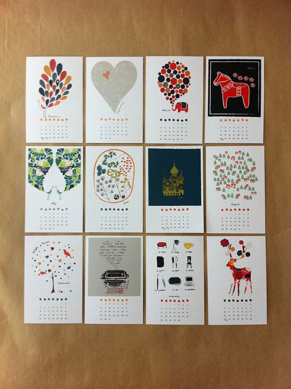 $30: Art Illustrations, 2012 Calendar, Calendar Gifts, Illustrations Calendar, Desks Calendar, Calendar Minis Galleries Kraft, Calendar 2012, Calendar Cards, Minis Calendar