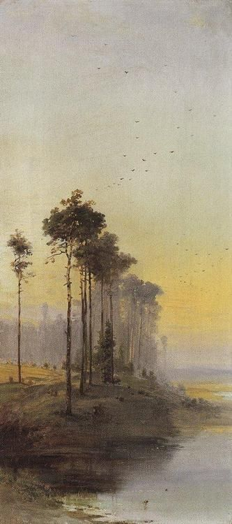 Oil painting 'Landscape with pines' by Alexei Savrasov