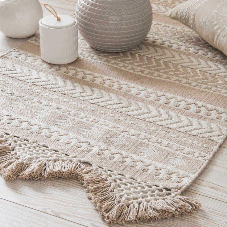 Tapis en coton beige et blanc à motifs 60x90cm RYANA