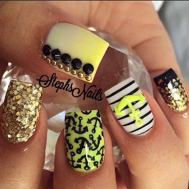 Lime and glitter nautical nails. Very unusual                                                                                                                                                      More