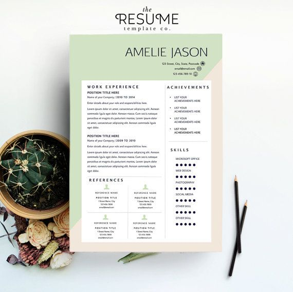 Resume Template and Cover Letter Printable Microsoft Word by TheResumeTemplateCo