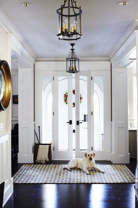 Love the contrasting lanterns - House & Home: Lights Fixtures, Grand Entrance, Front Doors, Houses Inspiration, Angus Fergusson, Beaches Houses, Grand White, Dark Hardwood, White Foyers