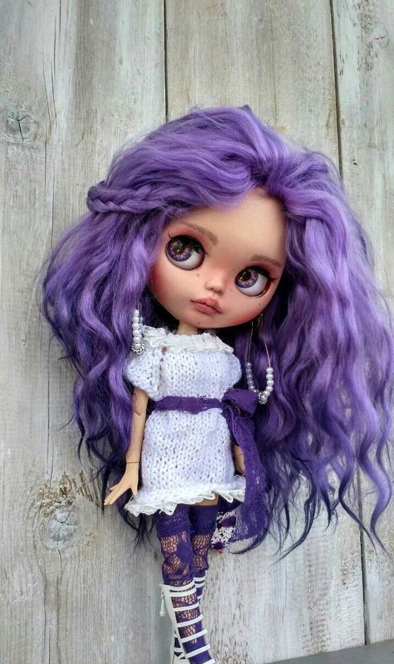 Violetta custom Blythe doll OOAK doll collectible doll mohair weft custom Blythe Blythe doll Blythe custom ooak