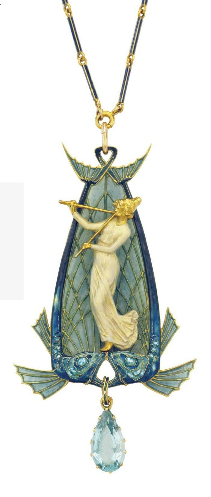 RENÉ LALIQUE - AN ART NOUVEAU ENAMEL AND AQUAMARINE PENDANT, CIRCA 1900. The pendant designed as two enamel and plique-a-jour fish suspending an aquamarine, centring upon a sculpted gold woman in a white enamel dress, playing two fluted instruments, to the blue enamel and gold link eckchain, mounted in gold, Pendant signed Lalique.