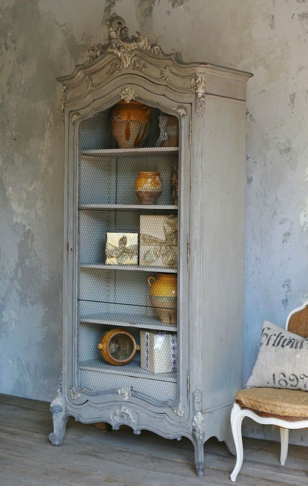 Circa 1890 French Armoire With Chicken Wire Door LOVE this :-)