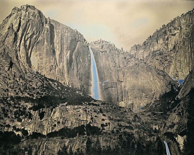Daguerreotype of Yosemite Falls in California, the waterfall appears blue