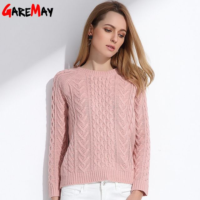GAREMAY Women Retro Pullover Pink Sweater Jacquard Spring 2017 Women Slim Short Knitted Long Sleeve Sweaters Ladies Jumper S066 #GareMay #sweaters #women_clothing #stylish_sweater #style #fashion