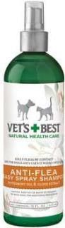 Bramton Company Vets Beste Natural Anti-Flea Easy Spray Shampoo (16 oz). Washes fleas away! Formulated of Peppermint Oil and Clove Extract, our luscious shampoo effectively kills fleas- and flea eggs - on contact. This fresh scented bath also gently cleans the coat and calms flea- bitten skin. Good for dogs and cats. No pyrethrins, methoprene or dioctyl sodium sulfosuccinate. No Cedar Oil. Pleasant scent.