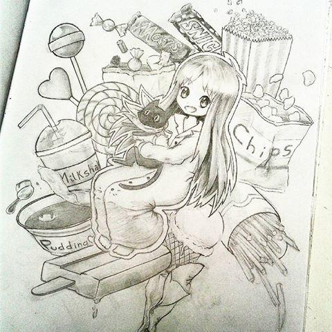 Hakase with Sakamoto 🐈  #nichijou #hakase #sakamoto #sweet #salty #popcorn #chips #icecream #ice #icelolly #popsicle #pudding #milkshake #lollypop #candy #candies #mars #snickers #anime #animedrawing #manga #mangaartist #mangadrawing #draw #drawing #drawings #art #artist #blackandwhite #pencil