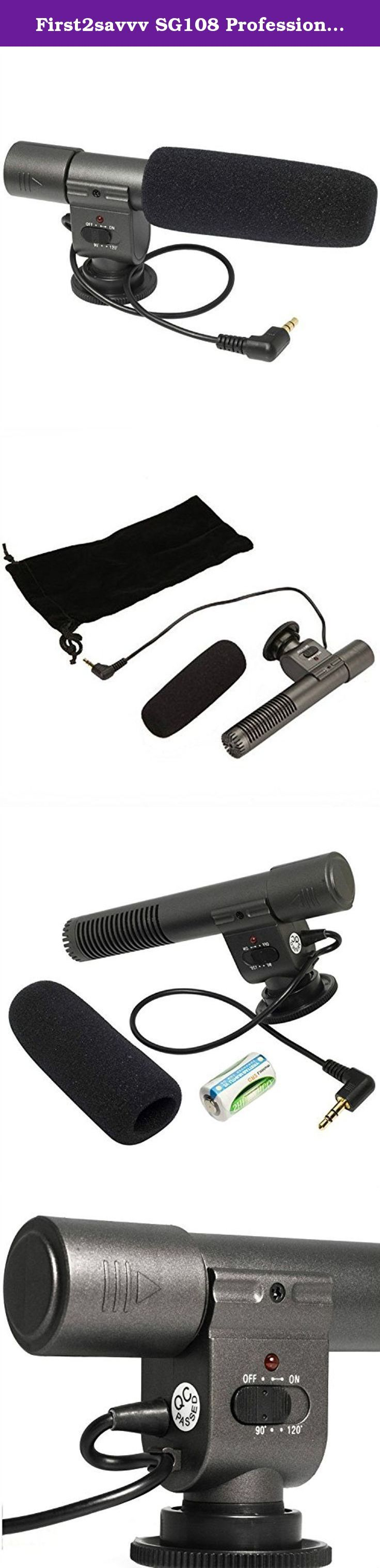 First2savvv SG108 Professional Interview condenser shotgun stereo microphone mic fits any DV& DSLR camera with microphone hole and path - FUJIFILM X-T1 Olympus SP-100E FUJIFILM X-T1 Globe-Trotter Kit FinePix S1 S9400W S9200 S8600 Panasonic LUMIX DMC-GH4EB DMC-GH4HEB DMC-LZ40 PENTAX K-r K-30 K-5 II K-5 Iis K-500 K-50 K-3 X5 645D 645 Z K-S1 Canon PowerShot SX530 HS EOS 1100D EOS 550D EOS 600D EOS 60D EOS 7D EOS 5D Mark II EOS-1D X EOS-1D. This bundle listing includes:1 x MIC-108-01…