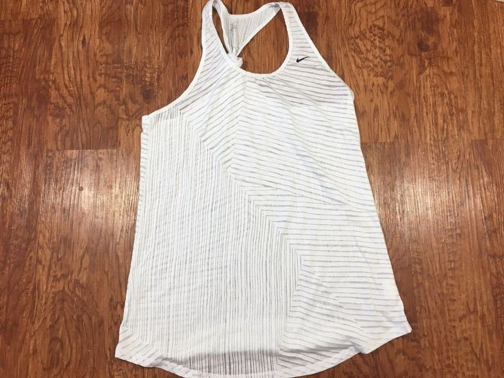 NIKE Large White Textured Striped Knotted Racer Back Tank Top Athletic Fashion #Nike #TankCami
