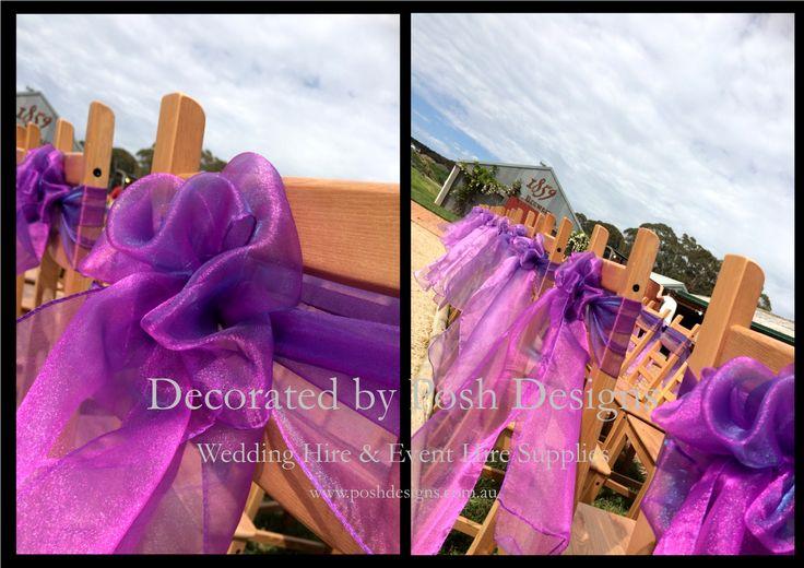 #purpleorganzasashes - #wedding #theming available at #poshdesignsweddings - #sydneyweddings #southcoastweddings #wollongongweddings #canberraweddings #southernhighlandsweddings #campbelltownweddings #penrithweddings #bathurstweddings #illawarraweddings  All stock owned by Posh Designs Wedding & Event Supplies – lisa@poshdesigns.com.au or visit www.poshdesigns.com.au or www.facebook.com/.poshdesigns.com.au #Wedding #reception #decorations #Outdoor #ceremony decorations