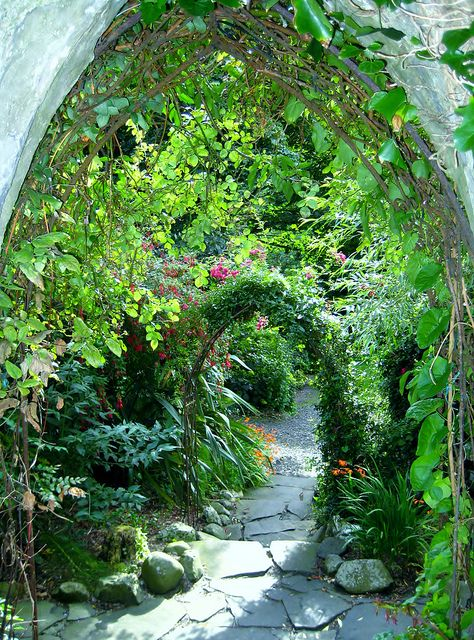 Steps to the garden at Ballygally Castle in Co. Antrim, Northern Ireland