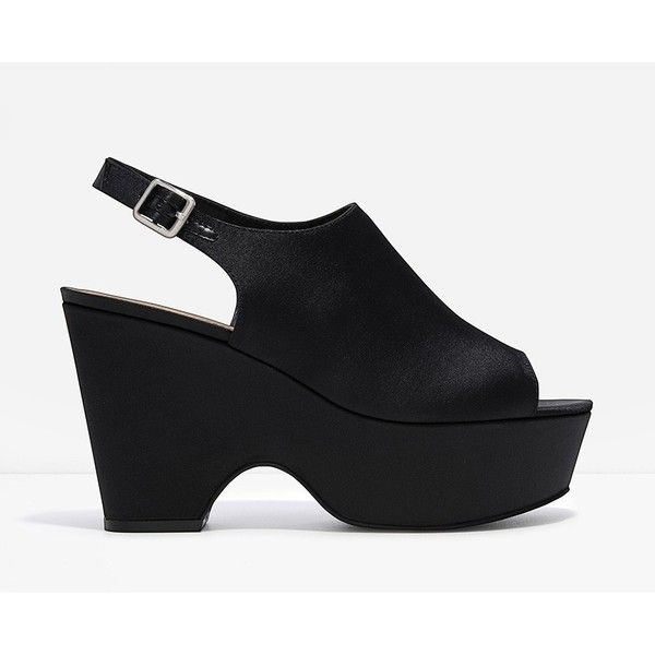 CHARLES & KEITH Platform Wedges ($59) ❤ liked on Polyvore featuring shoes, sandals, black, slingback sandals, black sandals, black sling back shoes, black open toe shoes and black open toe sandals