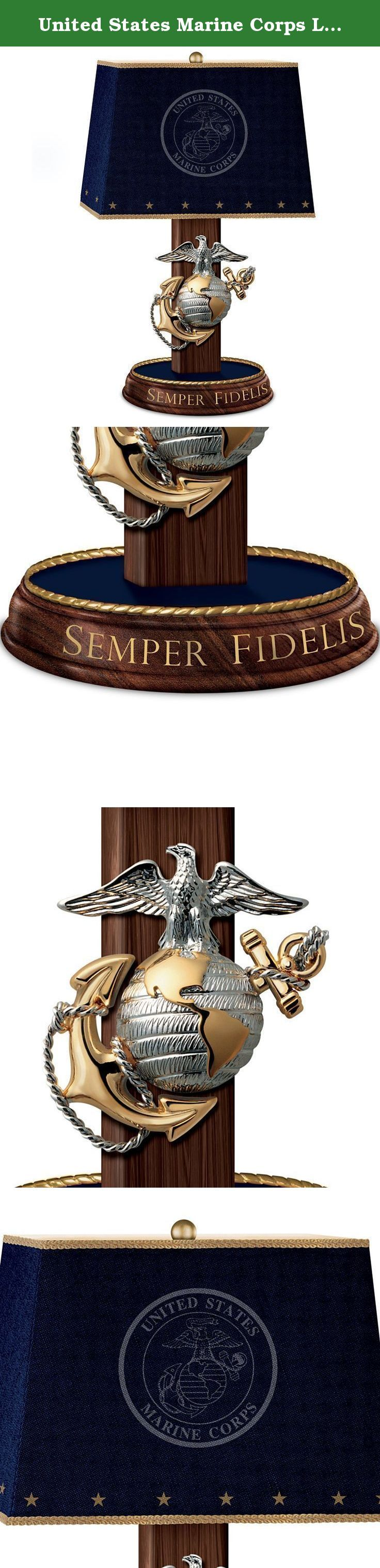 United States Marine Corps Lamp with Eagle, Globe, and Anchor Emblem and Motto by The Bradford Exchange. Let your Marine pride shine bright with the striking Always Faithful Lamp, exclusively from The Bradford Exchange. This Marine lamp stands nearly 1-1/2 feet high, creating an impressive shining tribute to the brave men and women who protect us every day and around the world. It even comes with a FREE CFL bulb that lends a soft illumination to your home decor. Expertly hand-sculpted and...