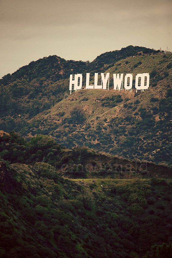 Old Hollywood - Photographic Print - California, Hollywood Sign, Film, Industry, Cali, Movie, Star, Green, Vintage, Wall, Decor, Hanging,