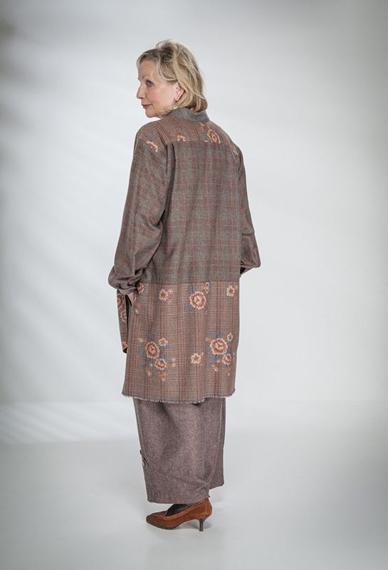 Abby Shirt in embroidered wool £235 over Penny Trousers in wool/silk £225 (Cob).
