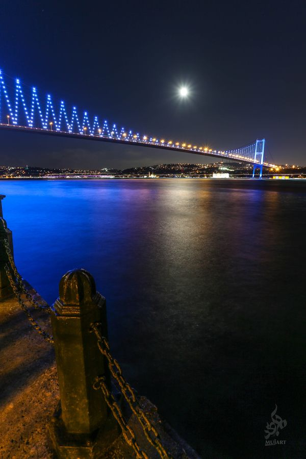 The Bosphorus Bridge, Istanbul, Turkey - at night.