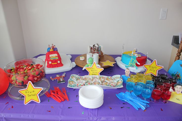 To add Wiggles Colours to the party buy purple, blue, yellow and red plates, cutlery, table cloths, confetti, cups, etc. from Dollarstore