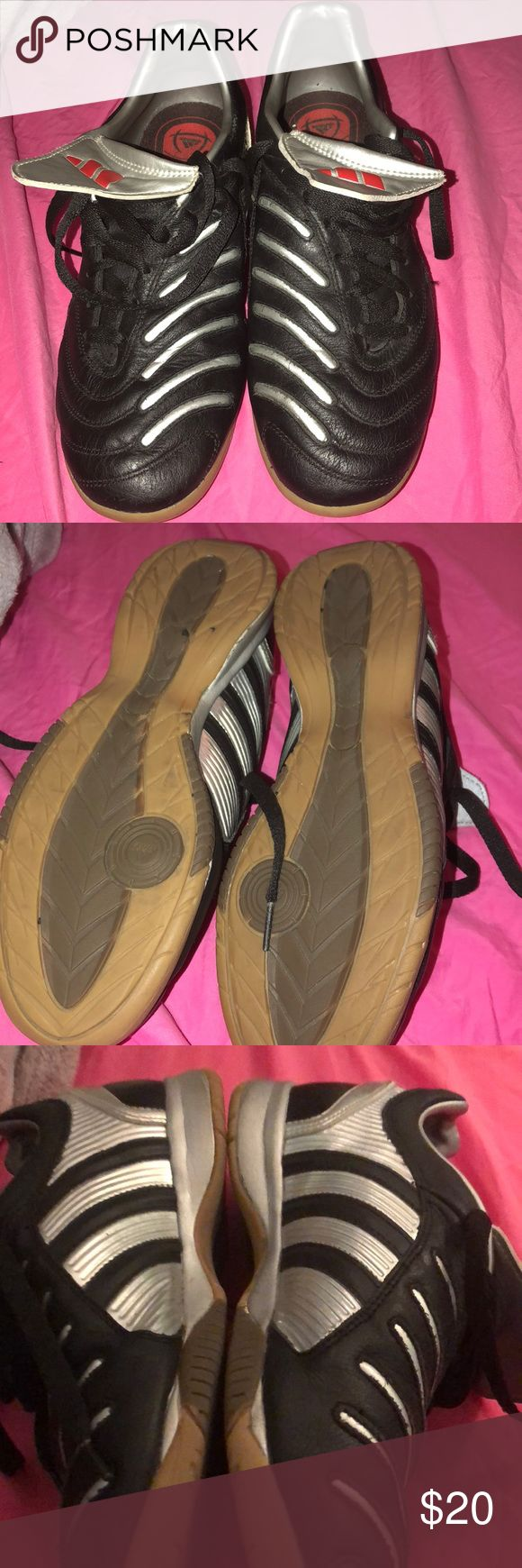 Adidas indoor soccer shoes worn once!!Size 8 women. AdiPREME. Silver and black.. make me an offer adidas Shoes Athletic Shoes
