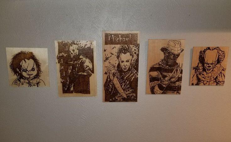 Woodburning Art Horror Theme set of 5. Freddy, Jason, Michael, Pennywise&Chucky