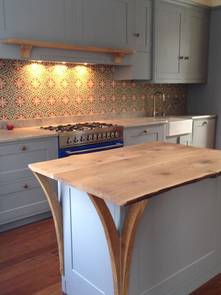 Hand Painted Kitchen In Farrow U0026 Ball Manor House Grey, Solid English Oak  Worktop On