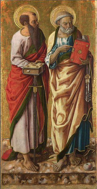 572. Carlo Crivelli - Polittico di Porto San Giorgio - Santi Pietro e Paolo - 1470 - Londra, National Gallery